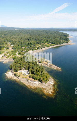 Looking north to Yellow Point, Vancouver Island, British Columbia, Canada. - Stock Photo