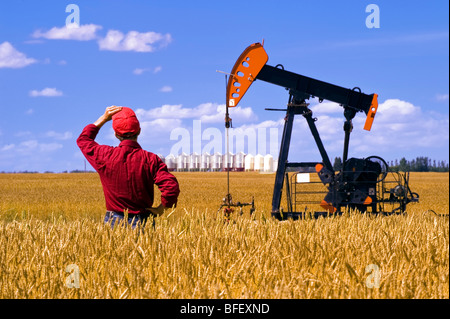Man looks out over a harvest ready wheat field with an oil pump jack and grain bins in background near Sinclair - Stock Photo