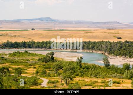 Wind turbines, Pincher Creek, Alberta, Canada, river, energy, alternate Energy - Stock Photo