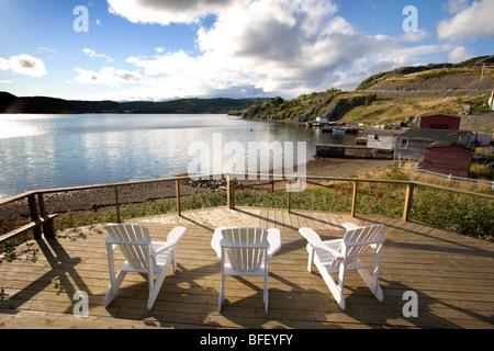 Lawn chairs, Gover House, Artisan Inn, Trinity, Newfoundland, Canada - Stock Photo