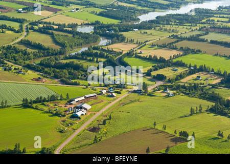 Aerial of farm, Wheatley River, Prince Edward Island, Canada - Stock Photo