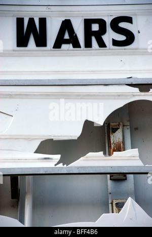 WARS, Found type on damaged cinema marquee - Stock Photo