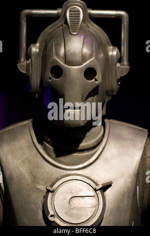 A cyberman figure on display at the Dr Who exhibition at Land's End in Cornwall, England - Stock Photo