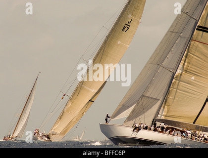 The J Class Velsheda and Ranger Compete in the Antigua Classic Yacht Regatta - Stock Photo
