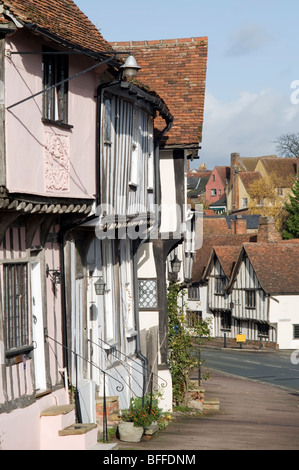 Traditional old-fashioned English houses in a street in Lavenham, Suffolk, England. - Stock Photo
