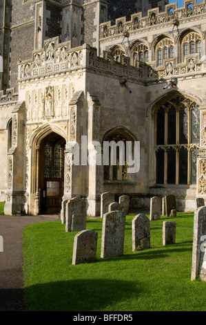 The entrance to St Peter and St Paul's church in Lavenham, Suffolk, England. - Stock Photo
