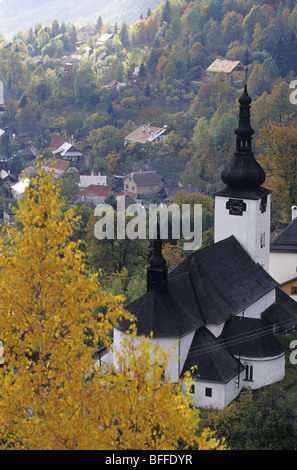 The autumnal scenery of Spania Dolina, a medieval mining village, located in the hearth of Nizke Tatry, Slovakia. - Stock Photo