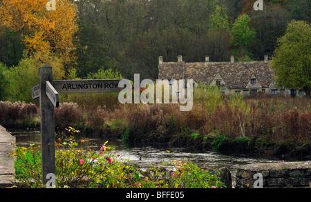Arlington Row, Bibury, Gloucestershire, England, UK Cotswolds - Stock Photo