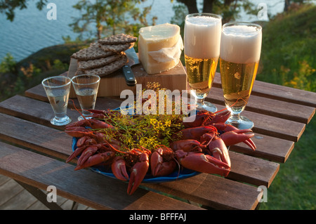 Table set for a traditional Swedish crayfish party. - Stock Photo
