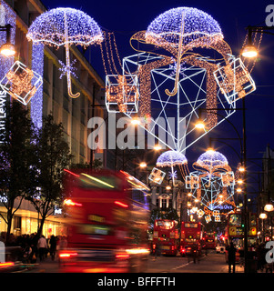 Colourful Christmas Decorations in Oxford Street London. UK - Stock Photo