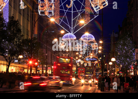 Colourful Christmas Decorations in Oxford Street London UK - Stock Photo