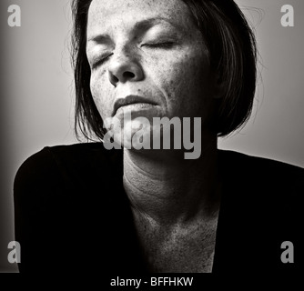 Powerful Black and White Shot of a Broken Woman - Stock Photo