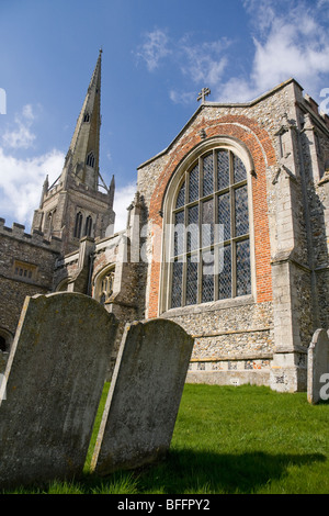 Rural church of St John the Baptist in Thaxted Essex England - Stock Photo