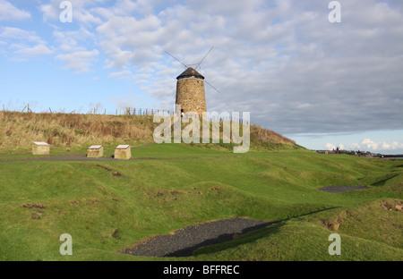 ancient salt pans and St Monans Windmill Fife Scotland  November 2009 - Stock Photo