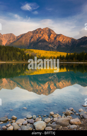 Pyramid Mountain reflected in Patricia Lake, Jasper National Park, Alberta, Canada - Stock Photo