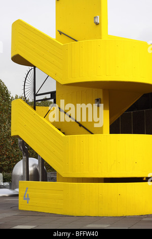 London The South Bank Centre bright yellow painted external outdoor concrete staircase - Stock Photo