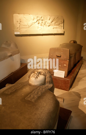 The Archaeological Museum in Istanbul, Turkey: sarcophagi from Sidon (Sayda, Lebanon) - Stock Photo