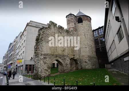 Tour D'Angle or Hoektoren a section of the old walls in the city of Brussels. Keizerslaan Street Brussels in Belgium - Stock Photo