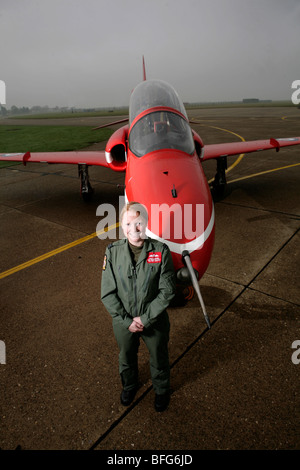 First ever female pilot with the RAF display team the Red Arrows, Kirsty Moore. - Stock Photo