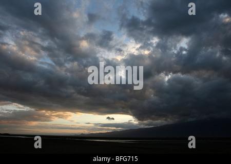 Sunrise At Lake Natron, Great Rift Valley, Tanzania - Stock Photo