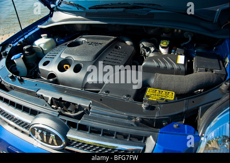 Diesel engine in 2009 model of Kia Sportage - Stock Photo