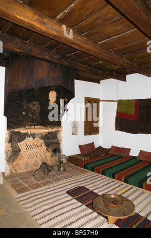 Bansko, famous ski resort in summer, typical interior in old bulgarian house - Stock Photo