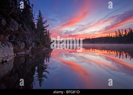 Sunrise in the fall at Line Lake near Wawa, Ontario, Canada - Stock Photo
