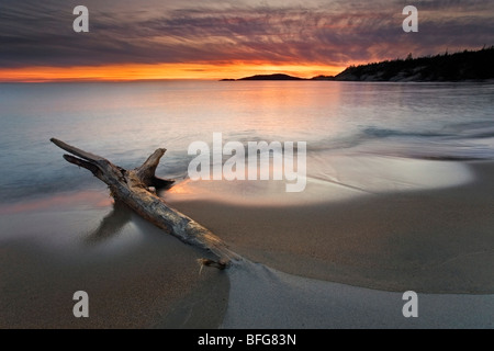 Sunset at Sandy Beach, on the shore of Lake Superior, Ontario, Canada - Stock Photo