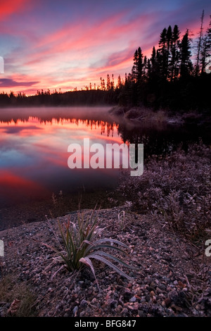 Sunrise at Line Lake, near Wawa in Northern Ontario, Canada - Stock Photo