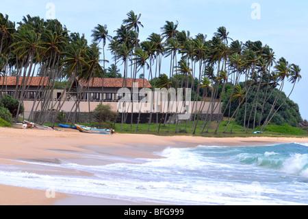 Amanwella Hotel and beach, Tongalle, Sri Lanka - Stock Photo