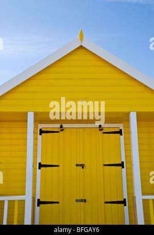 Colourful, colorful seaside huts at Sutton on Sea, Lincolnshire, - Stock Photo