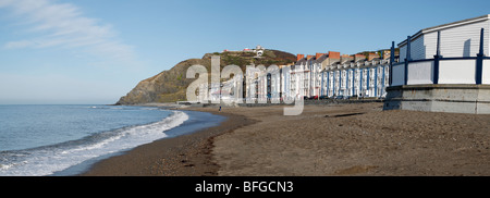 Panoramic view of North beach in Aberystwyth, Wales UK. - Stock Photo