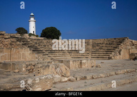 ancient roman odeon theatre with paphos lighthouse republic of cyprus europe - Stock Photo