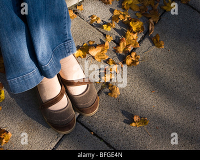 fall shoes with leaves - Stock Photo
