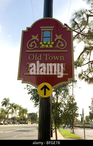 Sign welcoming people and directing people to the Old Town section of Tustin, CA. - Stock Photo