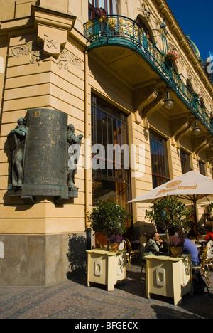 Obecni dum the Municipal House at namesti Republiky the Republic Square in Prague Czech Republic - Stock Photo