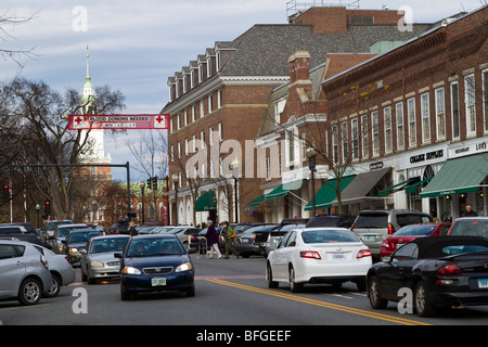 Main Street, near the Dartmouth College Campus in Hanover, New Hampshire - Stock Photo