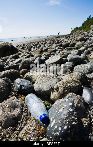 A single use clear plastic water bottle discarded on a rocky shoreline. - Stock Photo