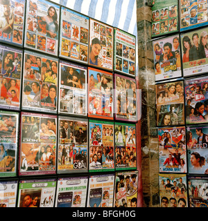 Asian movies for sale on a market stall in Whitechapel, London - Stock Photo