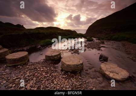 Stepping stones across a small stream leading down to Welcombe Mouth beach on the North Devon coast UK