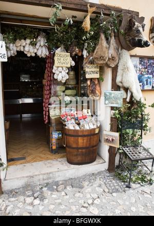 Deli shop in Norcia Umbria Italy - Stock Photo
