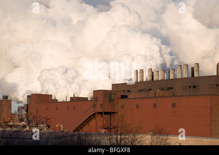 Exhaust coming from Northshore Mining Company, a Taconite processing facility in Silver Bay, Minnesota, USA - Stock Photo