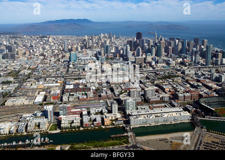 aerial view above San Francisco south of market area Mission Creek - Stock Photo