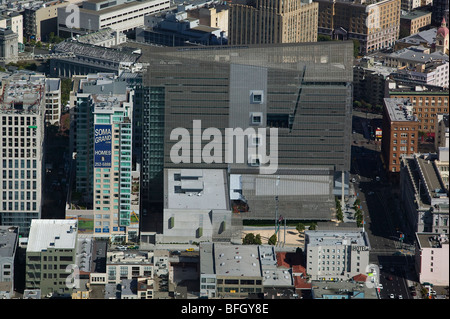 aerial view above San Francisco Federal Building - Stock Photo