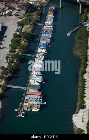 aerial view above house boats Mission Creek San Francisco California - Stock Photo