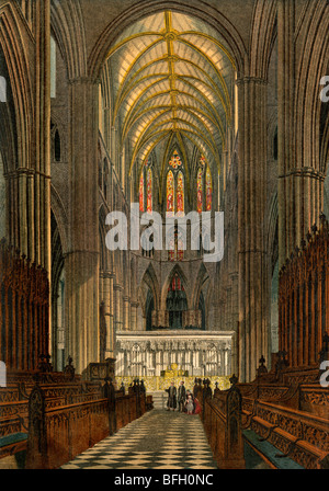 Westminster Abbey, seen from the Choir. Color lithograph - Stock Photo