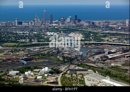 aerial view above Cleveland Ohio industrial area steel mills Cuyahoga river - Stock Photo