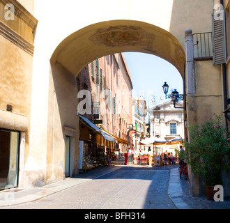 Archway from Piazza Sordello to the Center of Mantova, Lombardy, Italy - Stock Photo