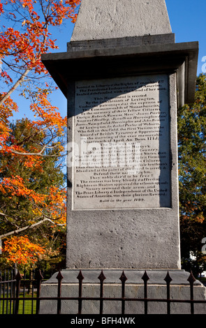 Monument on the Lexington Green honoring those who died in the first battle of the American Revolution - Massachusetts USA