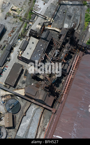 aerial view above Cleveland Ohio industrial area steel mill - Stock Photo